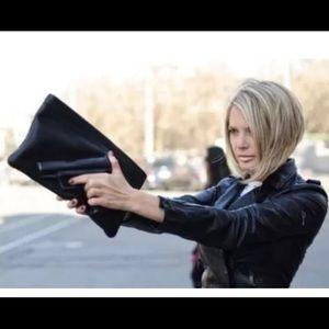 Handbags - Black GUN Print Leather Clutch Purse